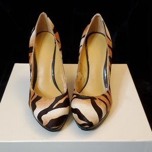 Nine West pony hair zebra print heels.